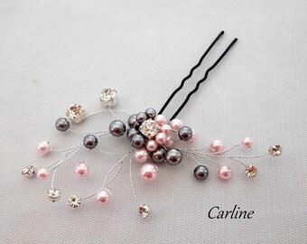 PIN wedding hair rhinestone hair bun and Nacreesswarovski gray light pink beads