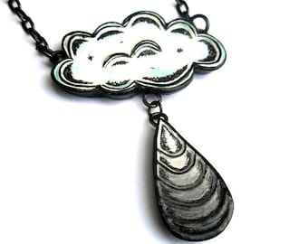 White Rain Cloud Necklace, Gray Ombre Raindrop Pendant, Cloud Jewelry, Storm Cloud Necklace, Rain Jewelry, Gift for Her, Girlfriend Gift