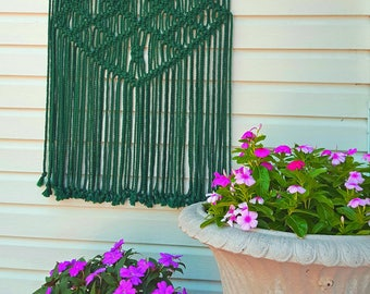 """Outdoor Macrame Wall Hanging Weather Proof Washable Garden Patio Decor Green """"Natura"""""""