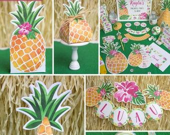 Pineapple Party Printables, Luau Birthday, Luau Invitation, Gold Pineapple Party, Luau Party Theme, Party like a Pineapple, INSTANT DOWNLOAD