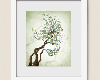 8 x 10 Tree Wall Art Print Blue Green Home Decor, Bare Tree Art Print, Living Room Decor (242)