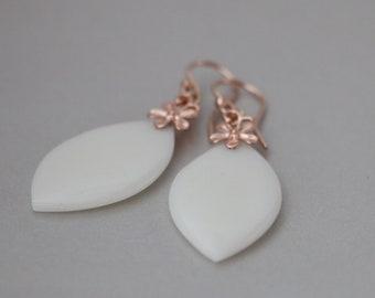 Jade Earrings, White Jade Earrings, Carved White Jade Earrings, White Jade Marquise Earring with Rose Gold Vermeil Flower Bail, Jade Jewelry