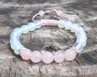 Rose Quartz Wrist Mala with Opalite