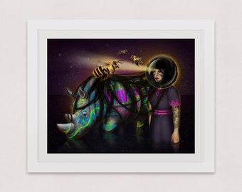 Art print, Surreal art print, Illustration giclée print, Wall art, Rhino art, Rhinoceros art print