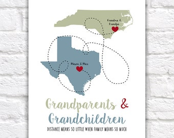 Christmas Gift for Grandma and Grandpa, Grandparents Quotes from Grandchildren, Xmas Present Ideas, Popular Gifts under 25, Texas | WF523