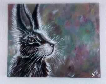 Original Hare painting, wildlife, unique, artwork