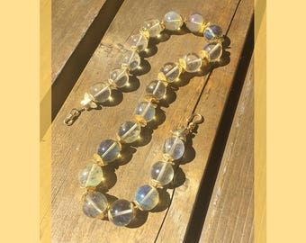 Golden Butterfly: Vintage Chinese glass, gold vermeil. Necklace and earring set.