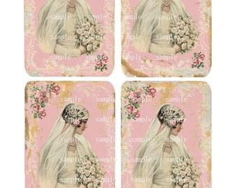 INSTANT DOWNLOAD Vintage look Wedding Bride Tags - Cards  -  Printable Digital Collage Sheet -