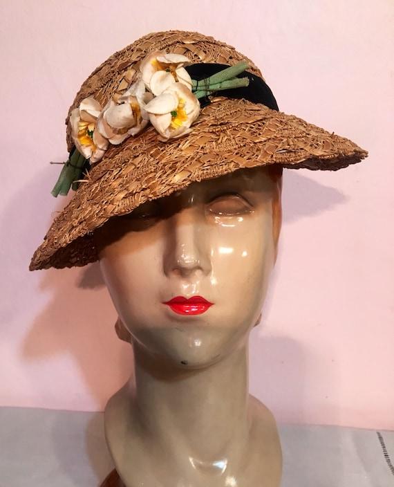 Vintage 1930s Straw Hat Black Velvet Band amd Flowet Trim Size 22