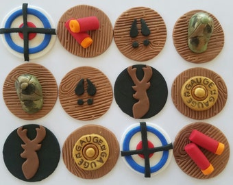 12 Fondant cupcake toppers--hunting