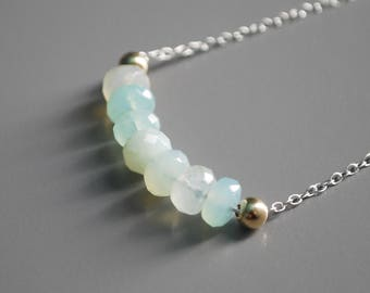 """Ombre Necklace - Peruvian Opal Necklace - 19""""-20"""" Chain - .925 Sterling Silver - 14K Gold Filled Beads - Handmade"""