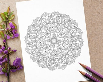 Abstract art doodle; advanced flower mandala coloring sheet; print and color an intricate geometric adult coloring page; instant download;