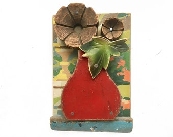 primitive folk art flower, 4x6 small assemblage art, original mixed media, found object art, red bud vase by Elizabeth Rosen