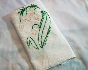 Dish Towel with Hand Embroidery, embroidery kitchen towels, Lily of the Valley Flowers,  Dish Towel, Kitchen Dish Towel, Retro Kitchen