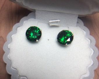 Green Zircon 10mm Earrings
