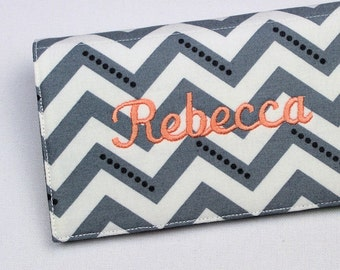 Personalized Chevron Fabric Checkbook Cover for Duplicate Checks with Pen Holder, Gray and White - Your Name or Monogram