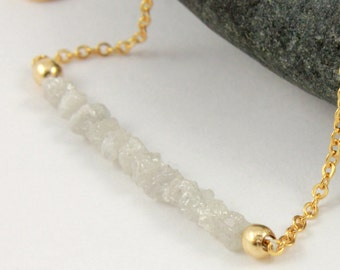 White Diamond Necklace in 14K Gold Filled - Rough Uncut Diamonds - Natural Unfinished Raw Diamonds - Snowy White Diamonds - April Birthstone