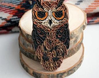 Grumpy Owl brooch, Angry Owl brooch, polymer clay Owl pin, bird brooch, quilled Owl jewelry