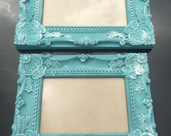Set of 2 shabby chic vintage picture frames chalk painted in kingfisher 1 X 6X4  1 X 7X5