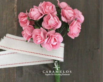 Miniature Pink Millinery Paper Roses Flowers