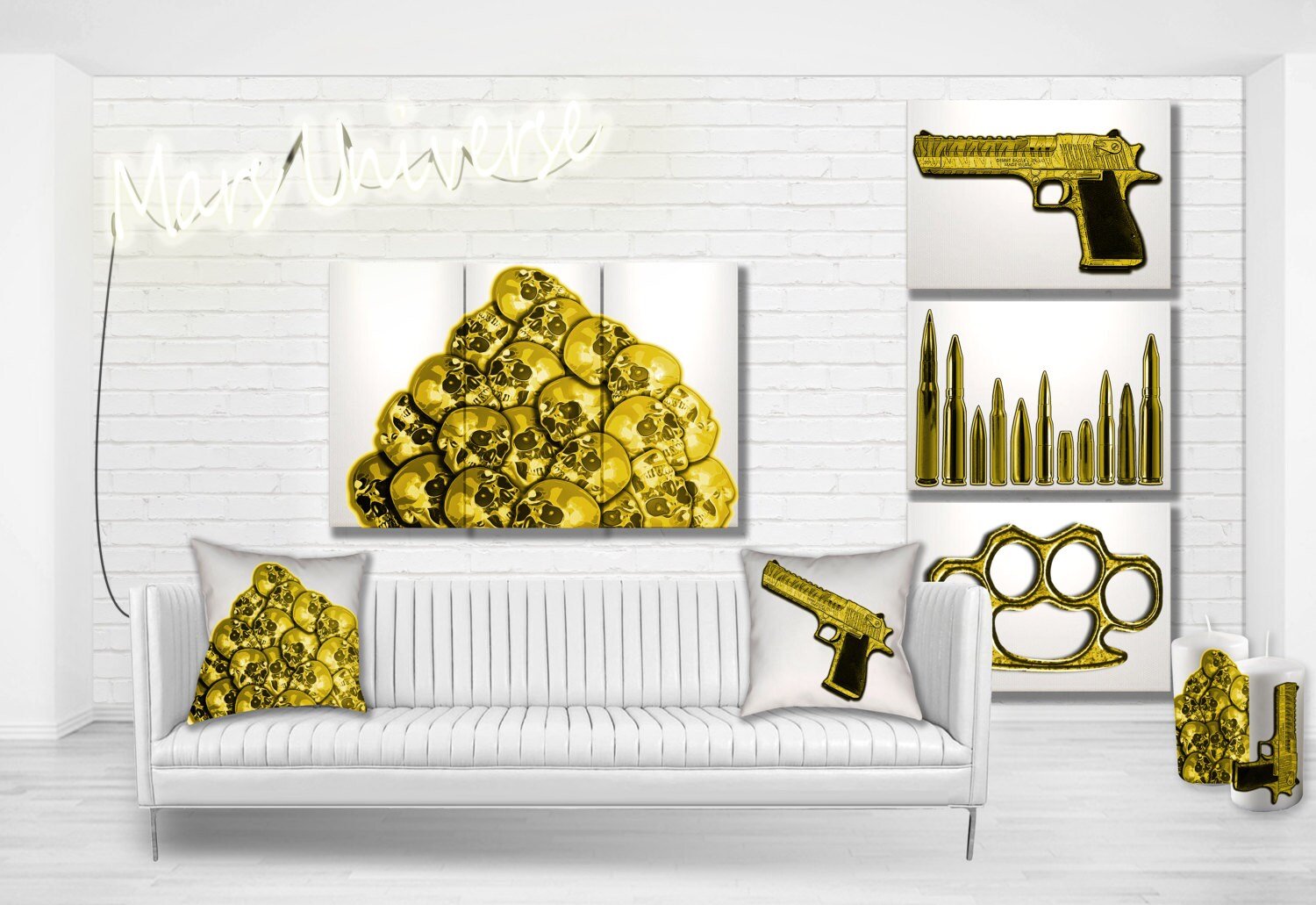 Guns & Candy Collection - Color Splash Skull Pile Modern Art Ready ...