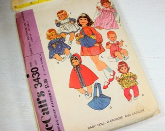 McCall's Sewing Pattern 3430, Baby Doll Wardrobe, Carrier, 14 to 16 Inch Doll, Complete, Partially Cut, Nightgown, Pinafore 1970's (763-15)
