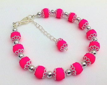 Neon Pink Bracelet, Bright Pink Jewelry, Contemporary Jewelry, Beaded Bracelet, Single Strand Bracelet, Teen Jewelry, Jewelry Gift for Her
