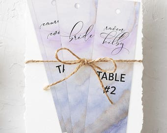Hanging Bookmarks, Wedding Reception Seating Cards, Semi Custom - Purple & Lilac, Precious Stone
