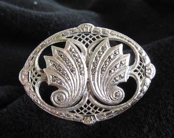Vintage Sterling Silver Marcasite Brooch Pin Ornate Large