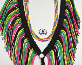 Fringe breast collar,  horse tack,   Neon horse tack, breast collar, paracord tack, neon breast collar, equestrian gift, horse lover, horse