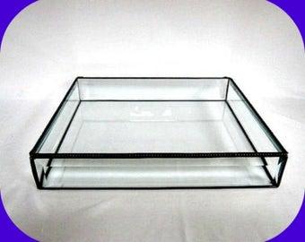 "Glass Display Case Glass Display Box Stained Glass Box Glass Souvenir Box Memorabilia Box, Jewelry Box Jewelry Case 12x10x2"" Tall"