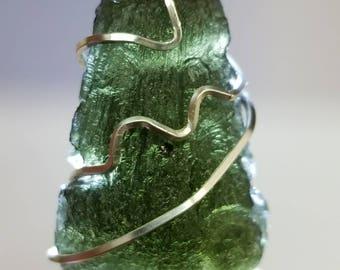 Moldavite Pendant 9g - Silver Wire Wrap