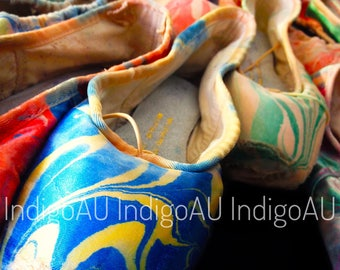 Pointe Shoe Photo Print - Blue and Yellow