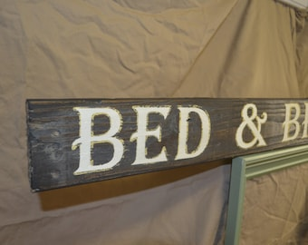 Bed & breakfast sign handcrafted in your choice of colors and size perfect for a bedroom