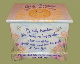 """Custom made """"You Are My Sunshine"""" Keepsake Box or Treasure chest, hand made wooden, kids furniture and decor"""