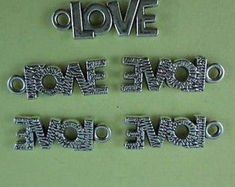set of 5 Silver charm LOVE 21 X 8 mm