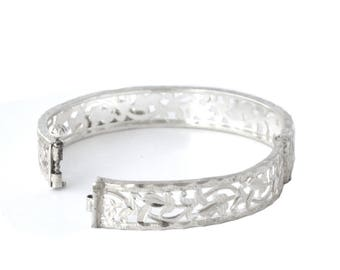 Art Deco inspired real silver hinged bangle with baubles