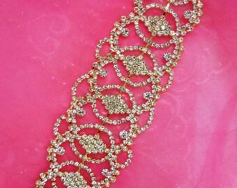 """N76 Bridal Crystal Rhinestone Sash Applique Gold Metal Back Embellishment 7.75"""" (N76-glcr)"""