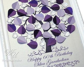 Anniversary or Birthday Guest Book idea - Modern Alternative to traditional GuestBook - Birthday gift ideas -  3D Tree up to 30-100 guests