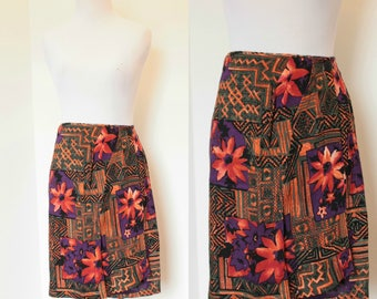 Vintage Wrap Skirt// Purple, Orange, Green Colorful Print Skirt// Rayon High Waist Wrap Skirt// Size Medium Large Skirt