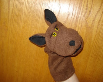 Jackal hand puppet movable mouth  washable 11 inches long