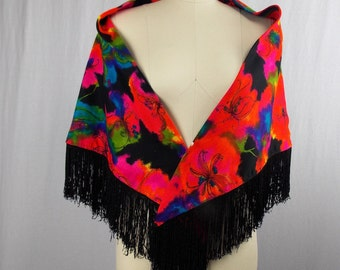 Vintage Fringe Shawl Bold with Bright Floral Print