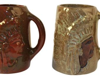 Pair of Limited Edition Rozart Pottery Jack Red Cloud Native American Mugs