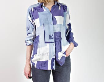 SALE 50% OFF 90s Monochromatic blue womens shirt
