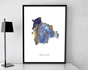 Bolivia poster, Bolivia art, Bolivia  map, Bolivia print, Gift print, Poster