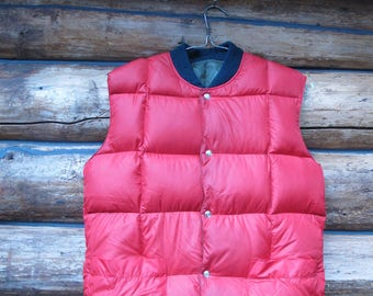 Reversible Down Vest Mens Down Vest Womens Down Vest Army Green Red Puffy Puffer Vest Winter Camping Hunting Vest Snap Up Front