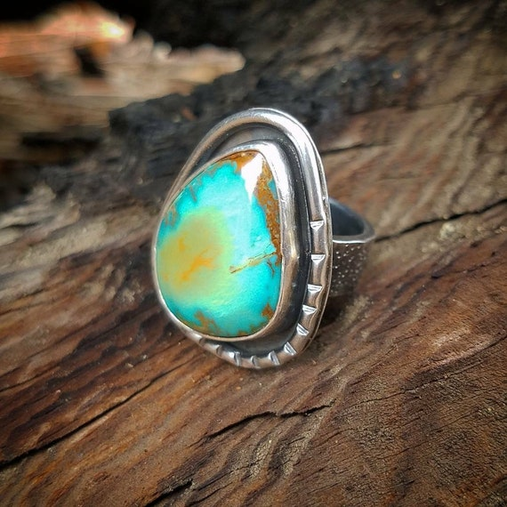 Turquoise Ring, OOAK One of a kind Art Jewelry, Royston  Nevada Turquoise Gemstone, Statement Cocktail Chunky Ring, Cowgirl Boho Style