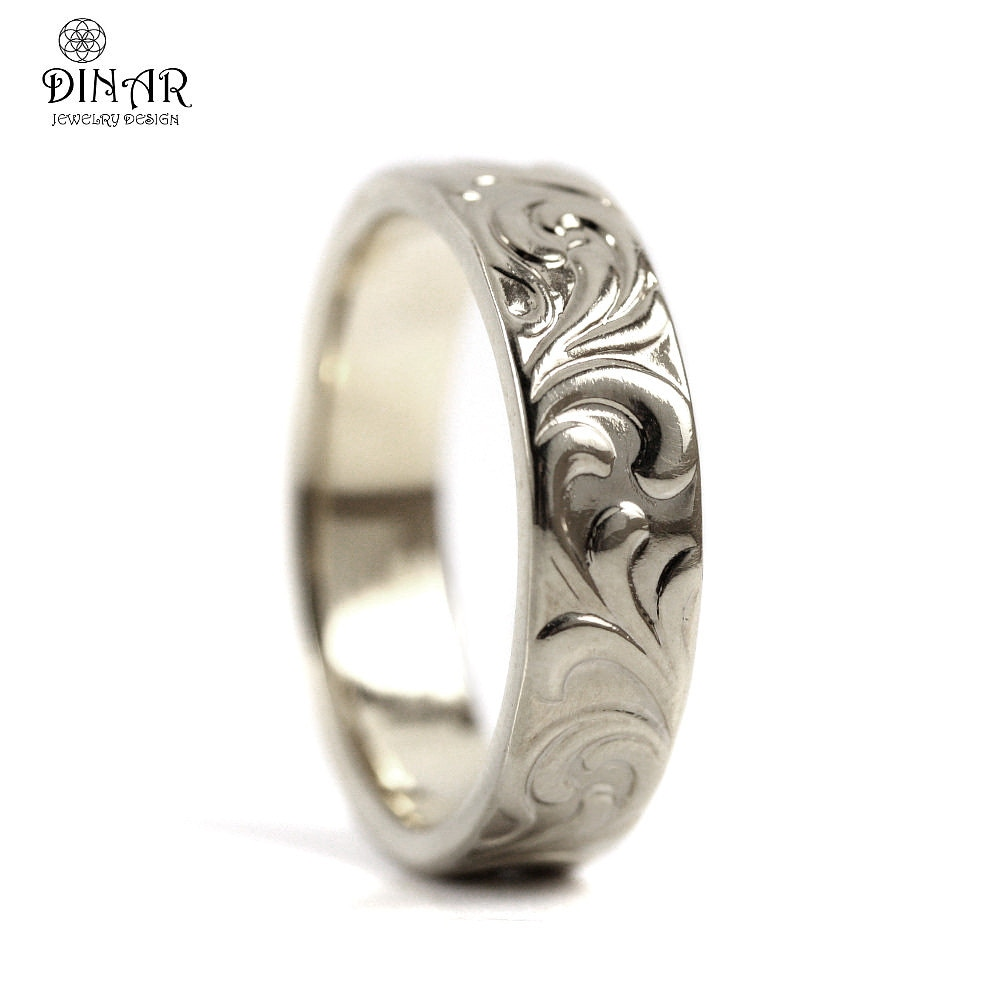 14k solid White Gold wedding band Leaf engrave ring scrolls