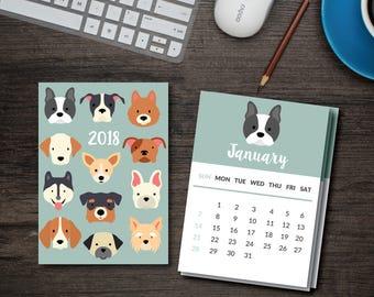2018 Dog calendar // Printable PDF // Dog Breeds Desk Calendar //  5x7