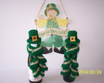 St Patrick's Day Crocheted Leprechaun Hat & Scarf  Wine Bottle Topper